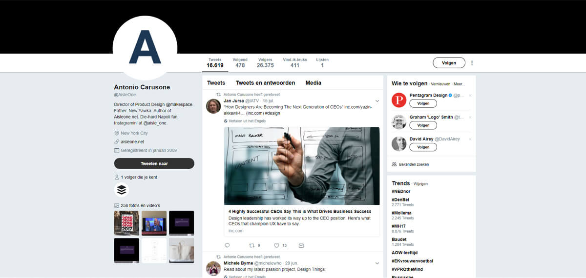 Antonio Carusone's Twitter: personal branding done right