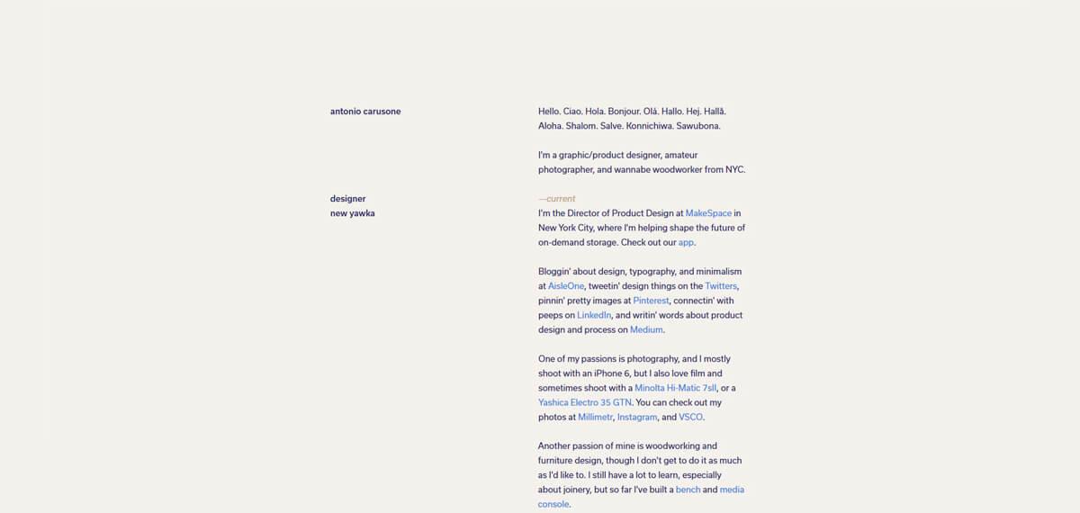 Antonio Carusone's website: een online personal branding voorbeeld