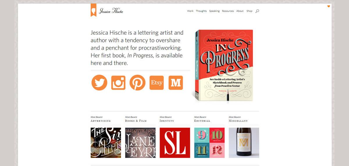 Jessica Hische's website: een online personal branding voorbeeld