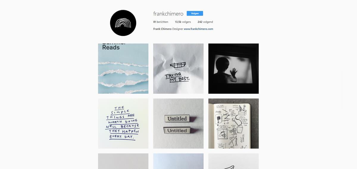 Frank Chimero's Instagram: online personal branding voorbeeld