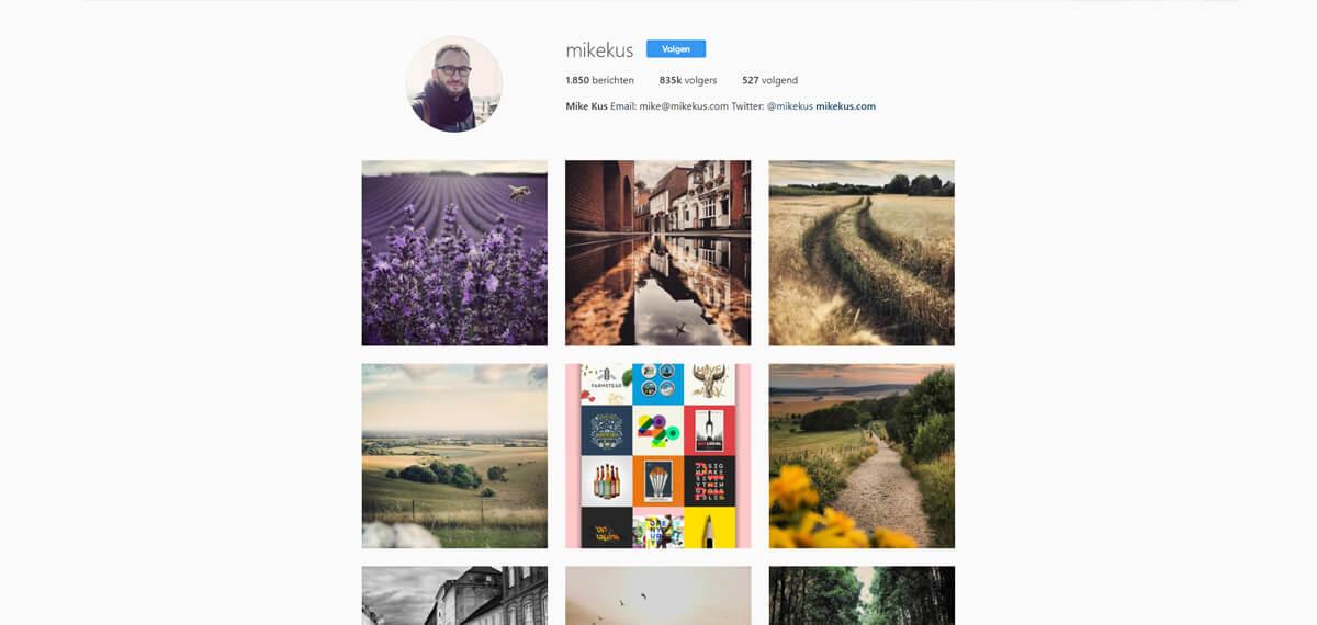 Mike Kus' personal branding op Instagram