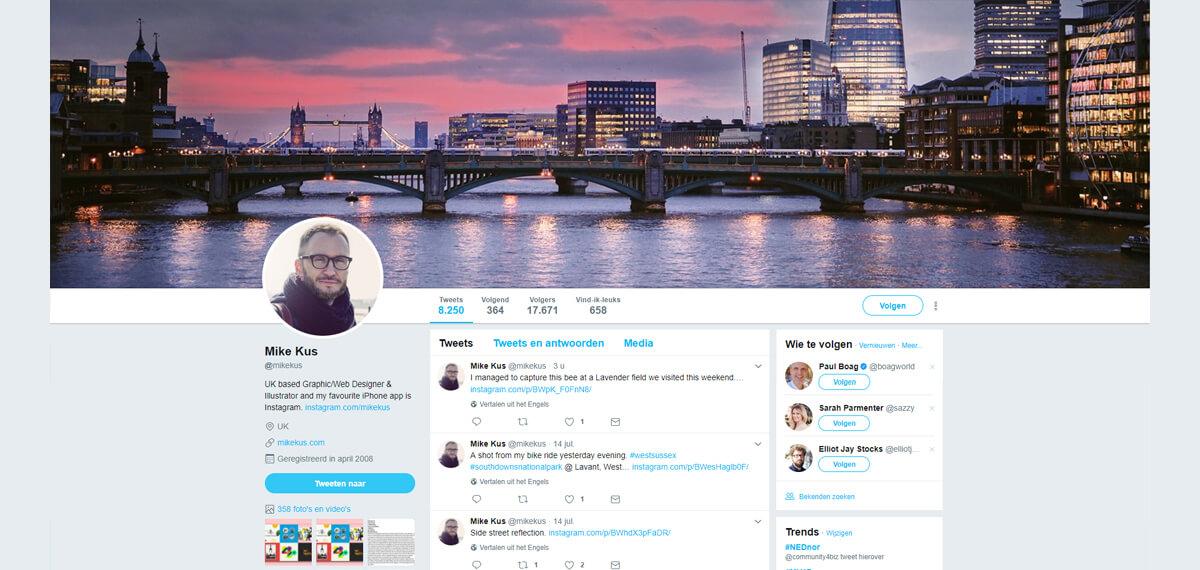 Mike Kus' personal branding op Twitter