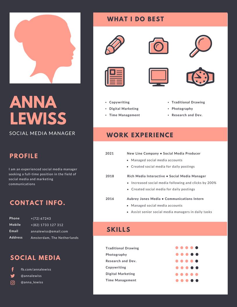 CV voorbeeld voor social media marketeer